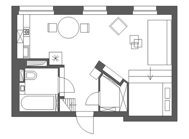Схема квартиры студии